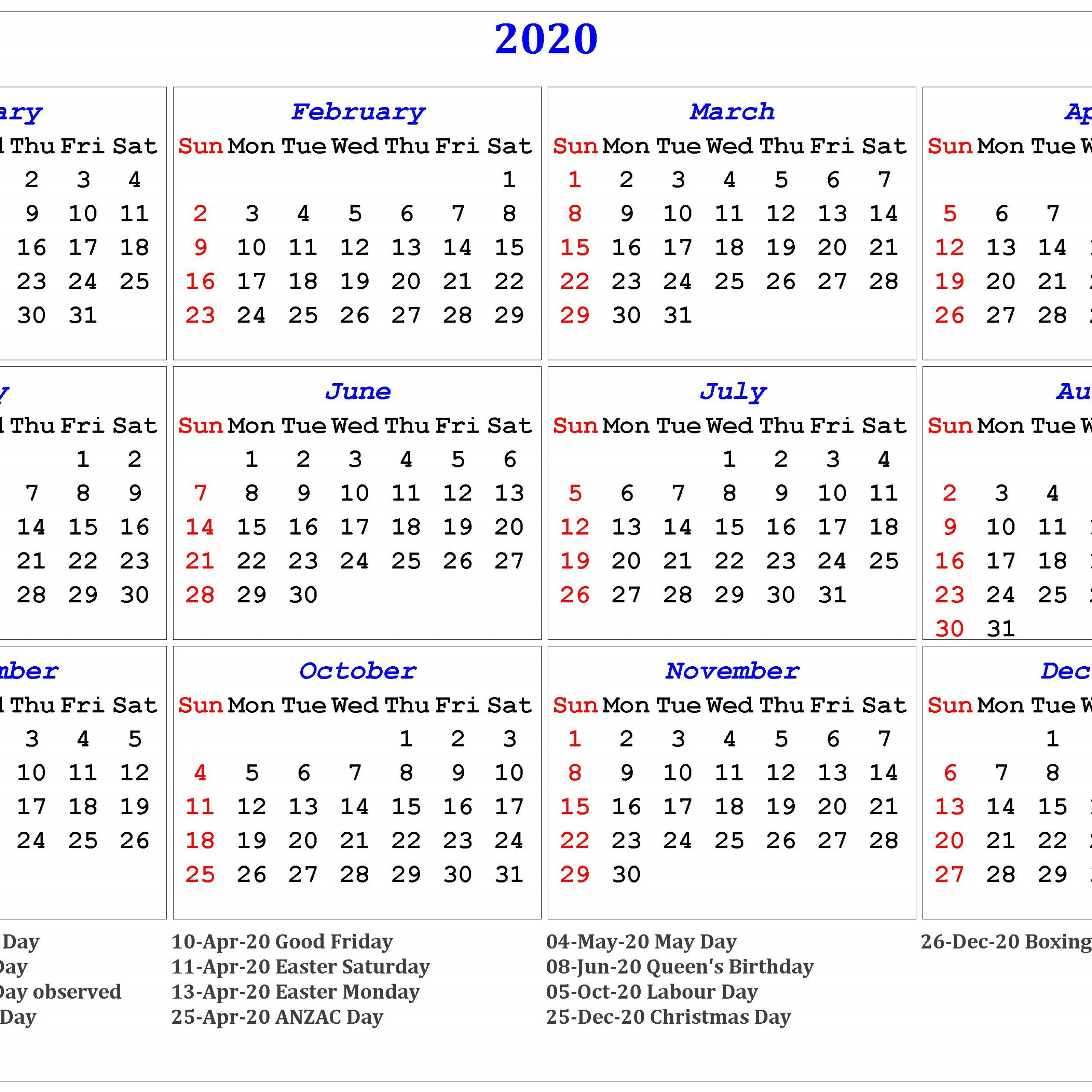 Calendar For Year 2020 Australia With Week Numbers | Free