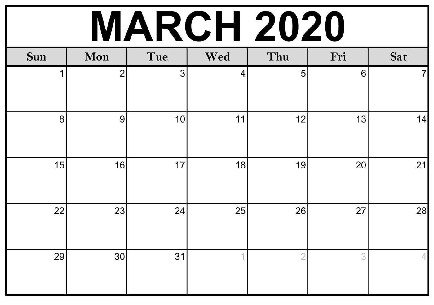 Calendar March 2020 Free Printable In 2020 | Calendar