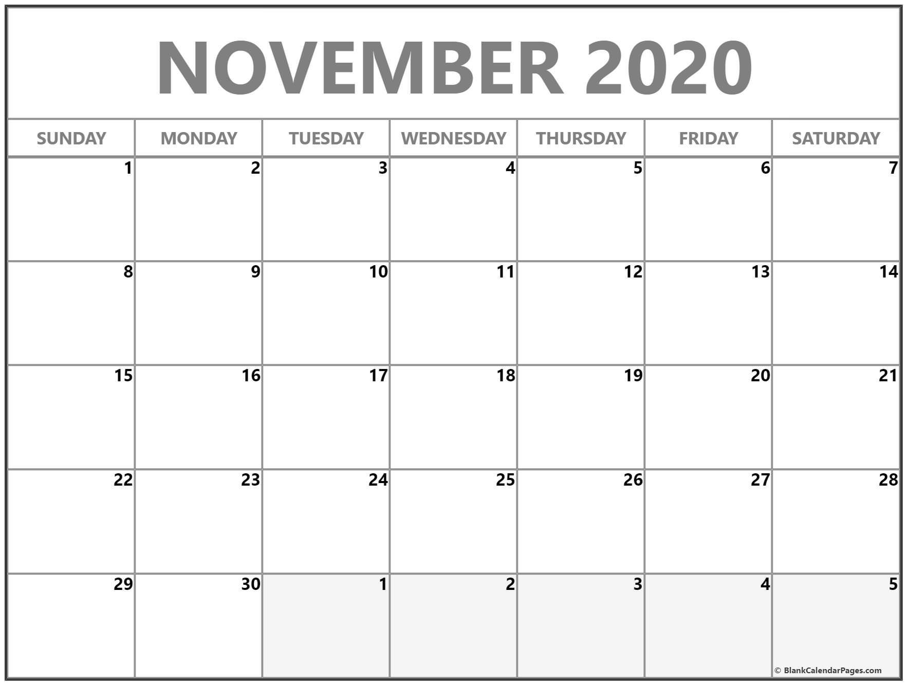 Calendar Monthly November 2020 | Calendar Ideas Design