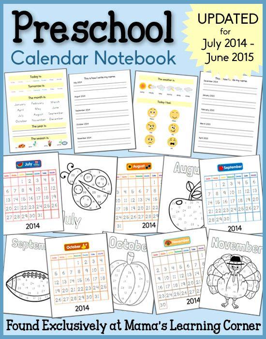 Calendar Notebooks For 2019-2020 | Preschool Calendar