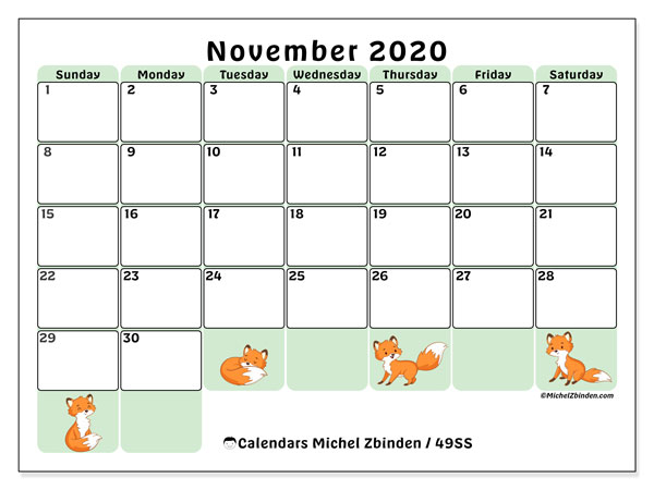 Calendar November 2020 - 49Ss - Michel Zbinden En