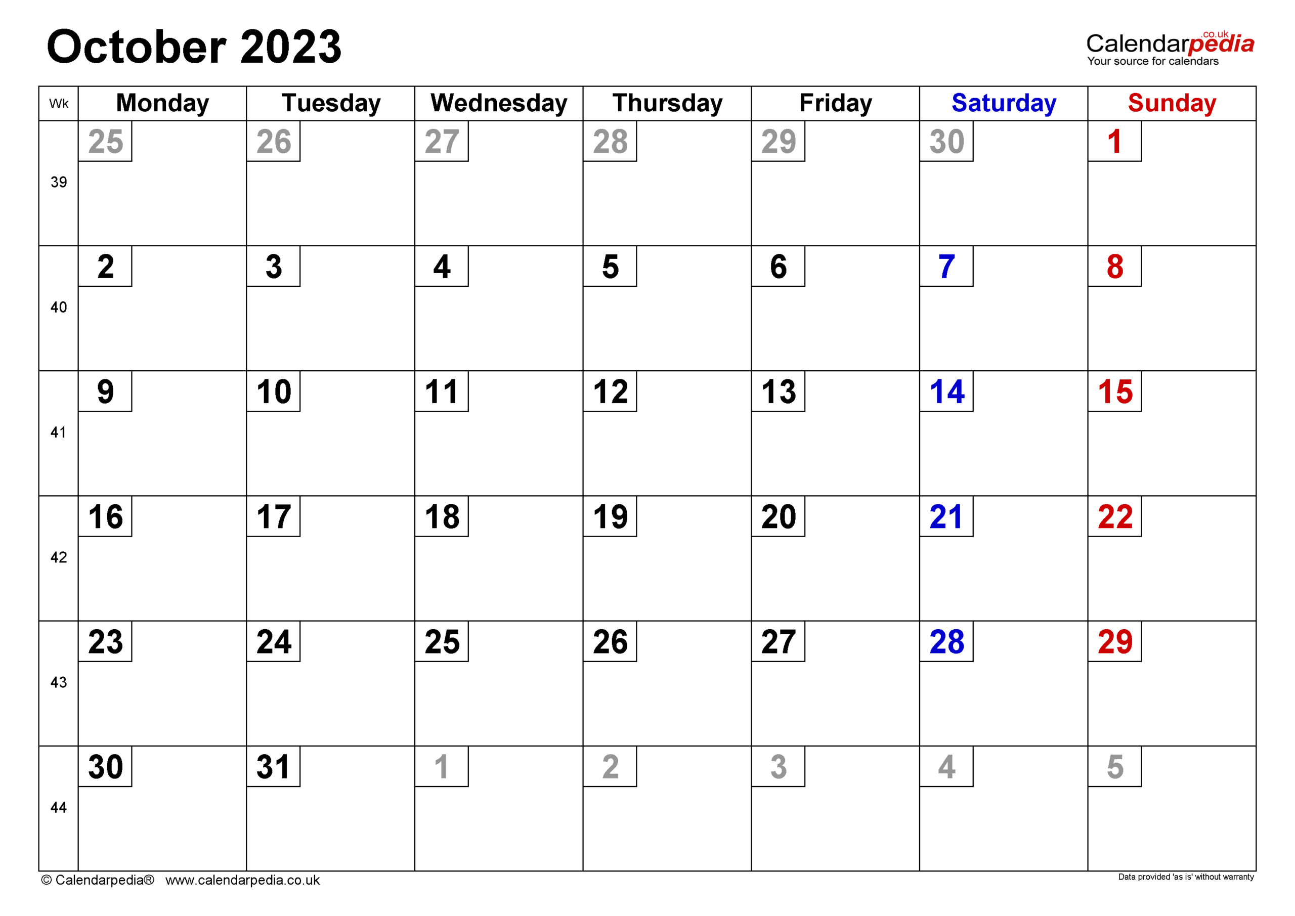 Calendar October 2023 (Uk) With Excel, Word And Pdf Templates