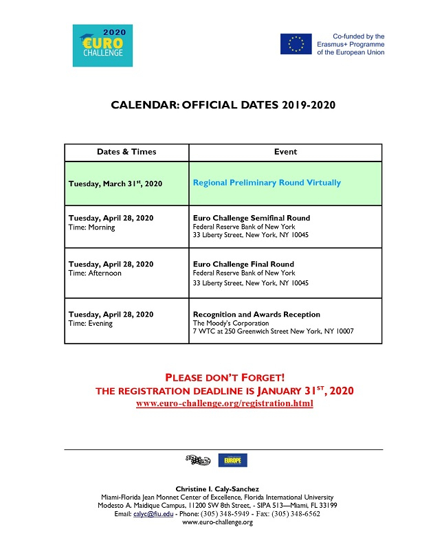 Calendar - Official Dates Competition 2019-2020 | Miami