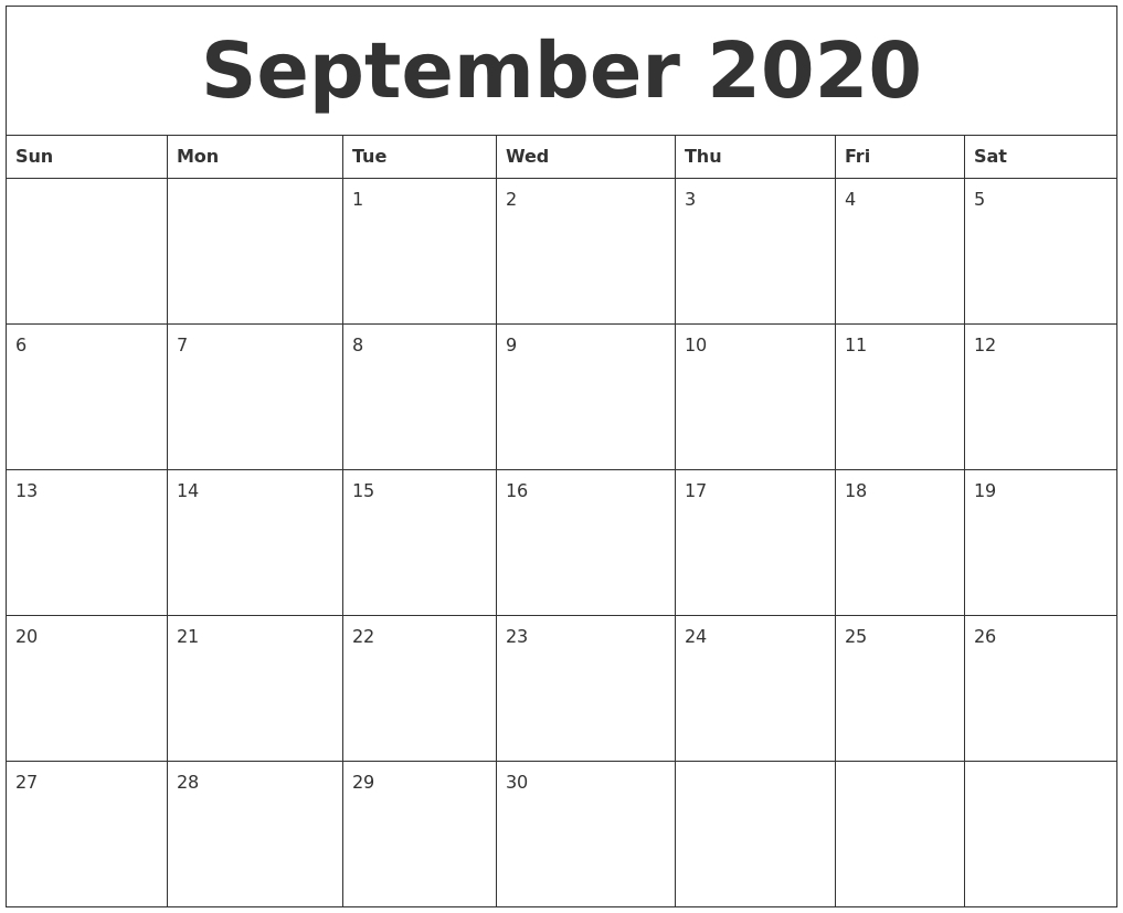 Calendar September 2020 Start Monday Printable Free