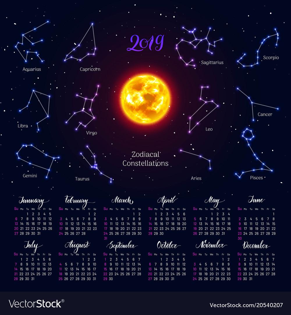 Calendar Sun Zodiac Signs 2019 Night Sky Vector Image