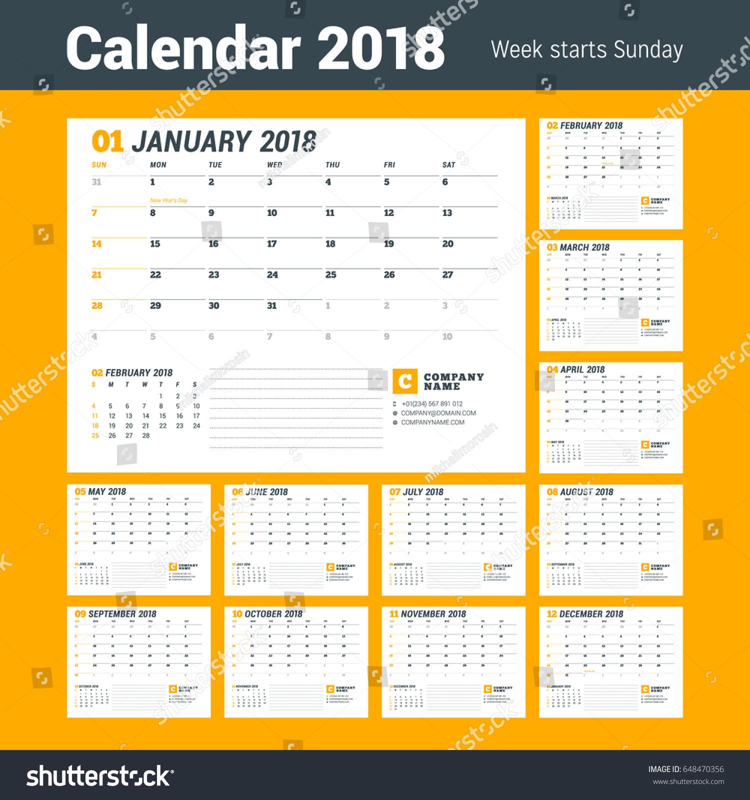 Calendar Template 2018 Year Business Planner 스톡 벡터