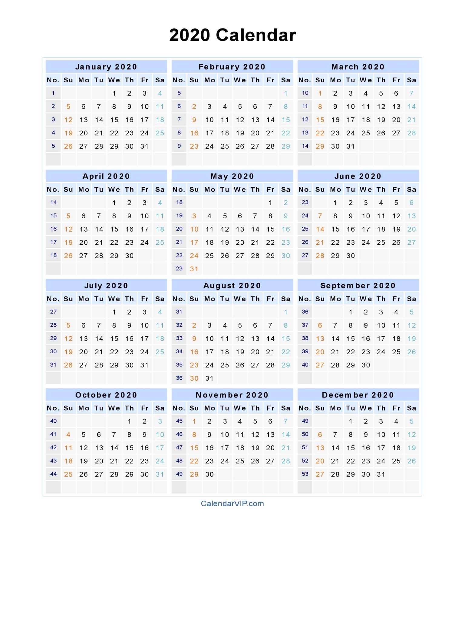 Calendar Week 2020 Printable | Month Calendar Printable