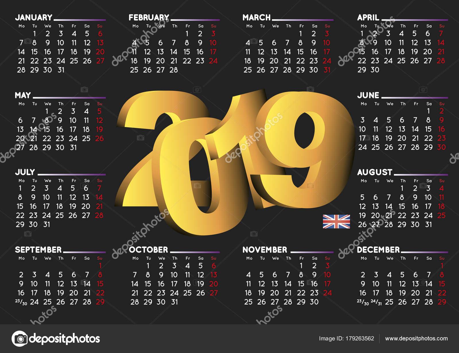 Calendario 2019 En Reino Unido Horizontal Negro Inglés