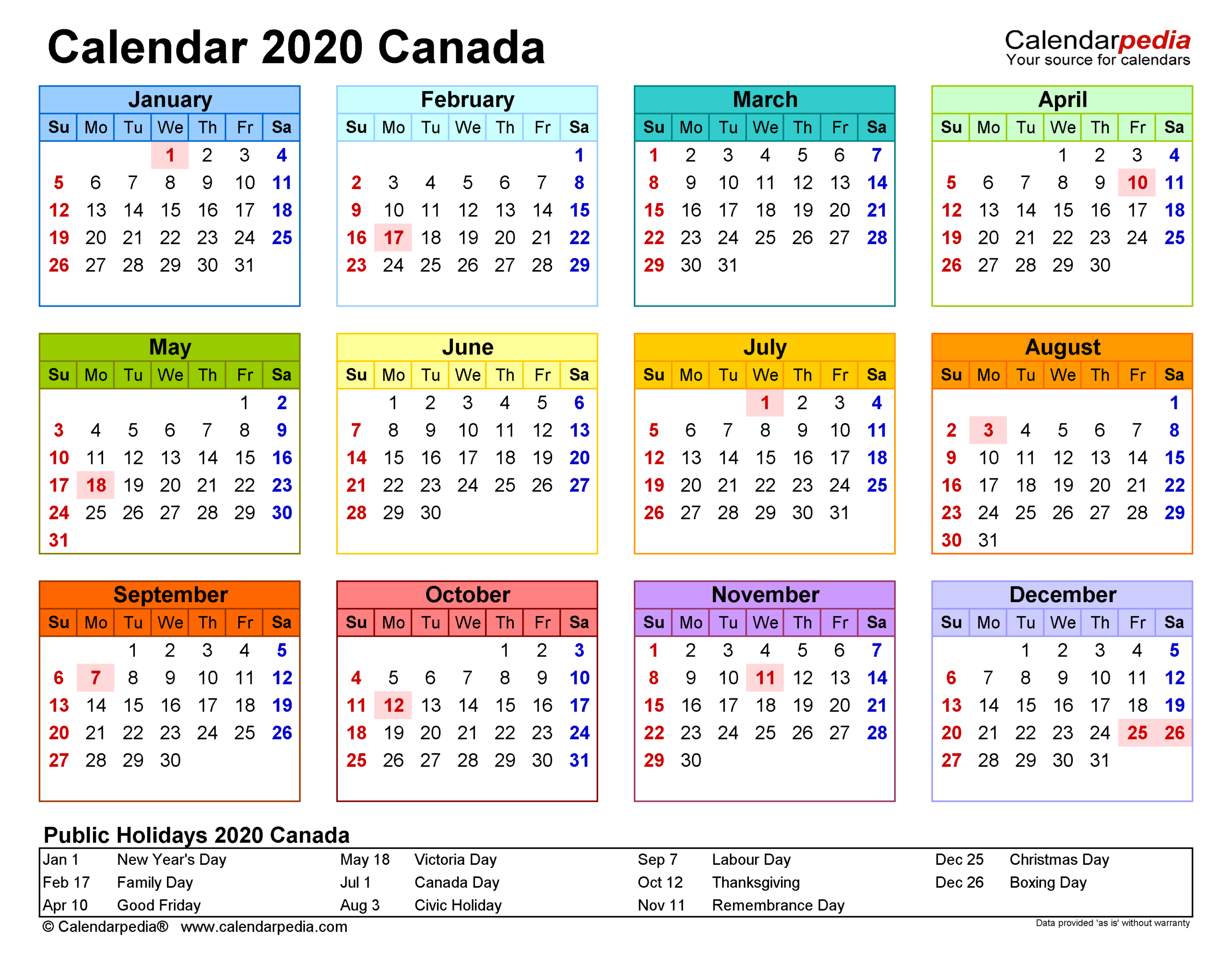 Canada Calendar 2020 - Free Printable Pdf Templates