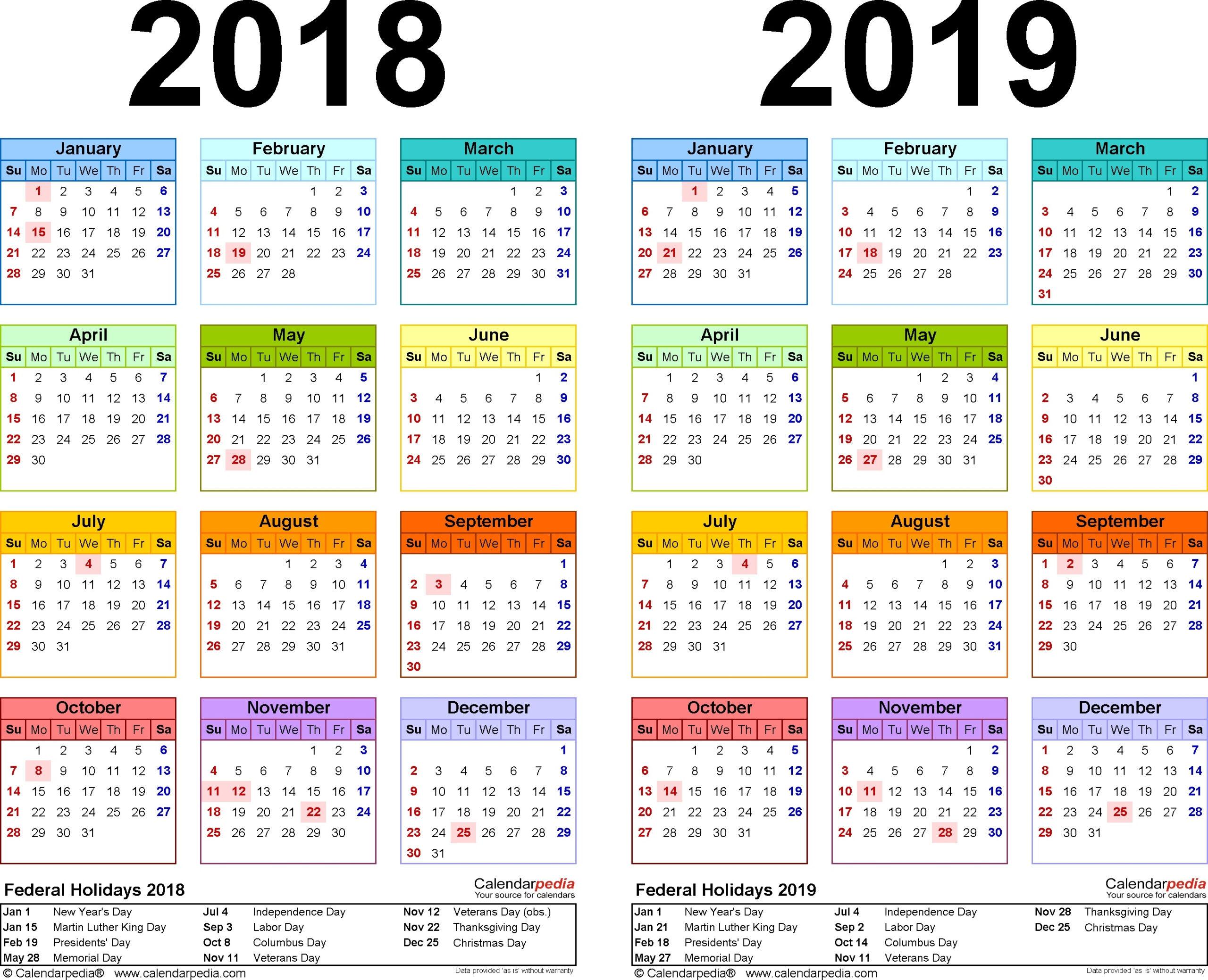 Canadian Holidays 2018/2019 Calendar Printable – Template