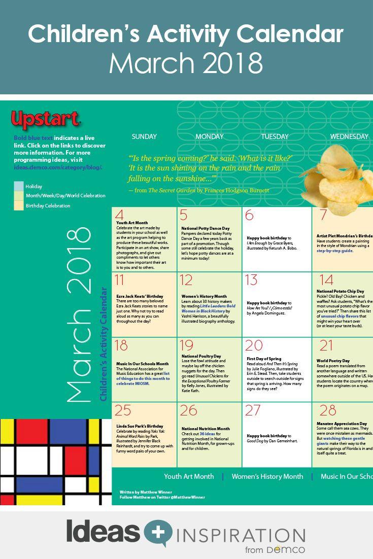 Children'S Activity Calendar: March 2018 | Activities