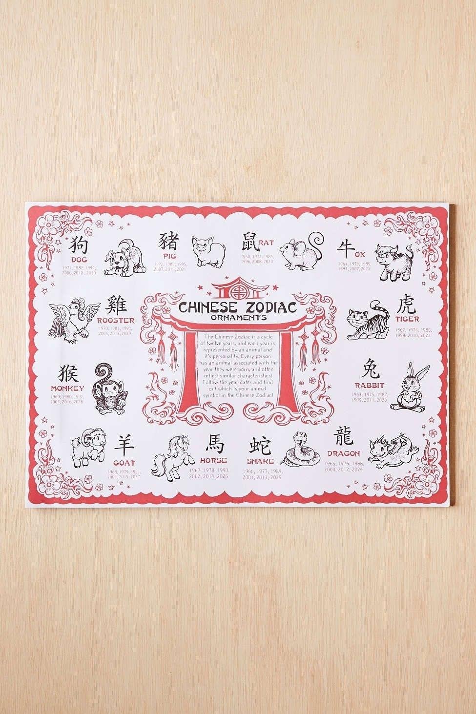 Chinese Zodiac Calendar Placemat | Month Calendar Printable