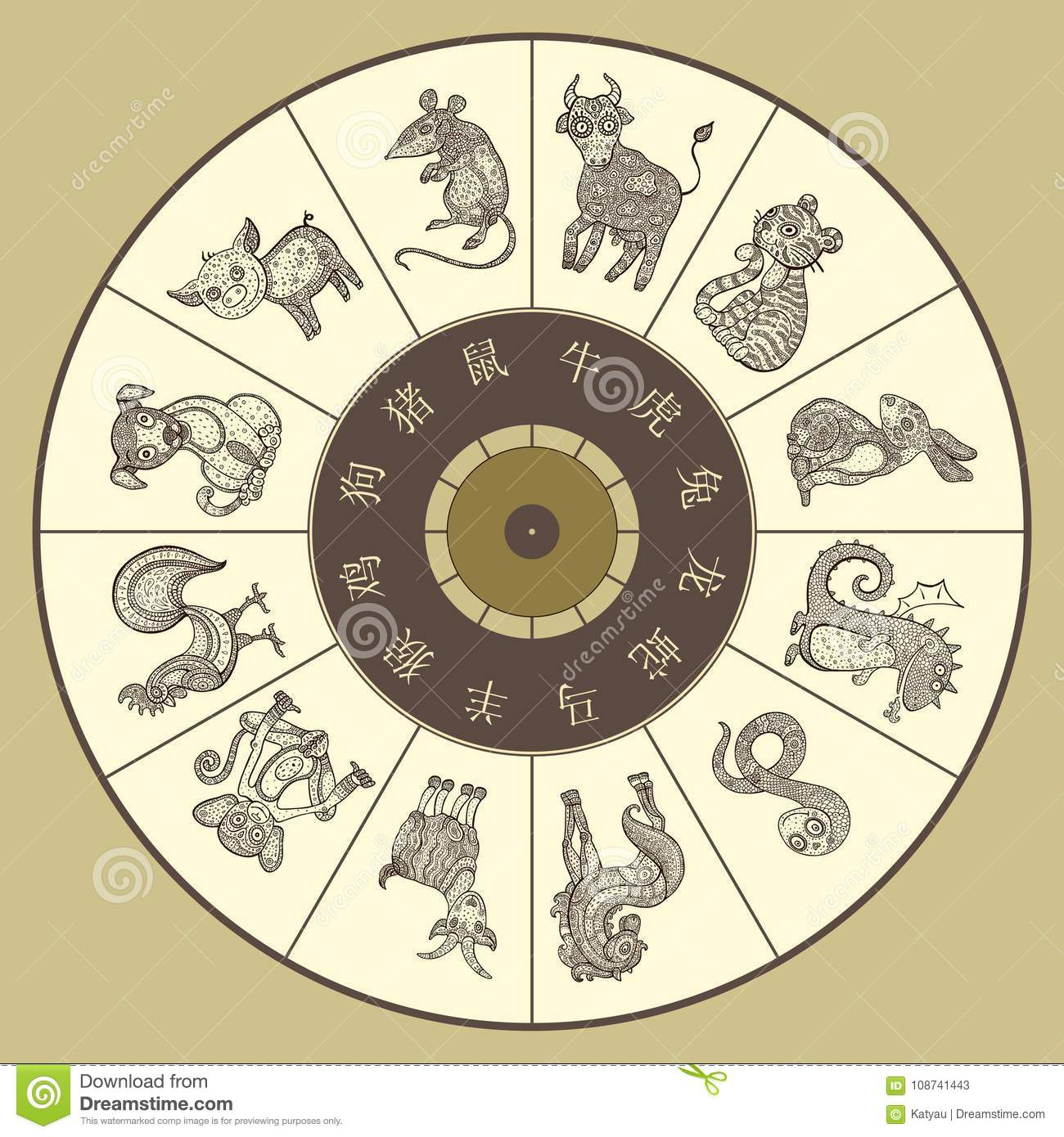 Chinese Zodiac Wheel With Twelve Stock Illustration