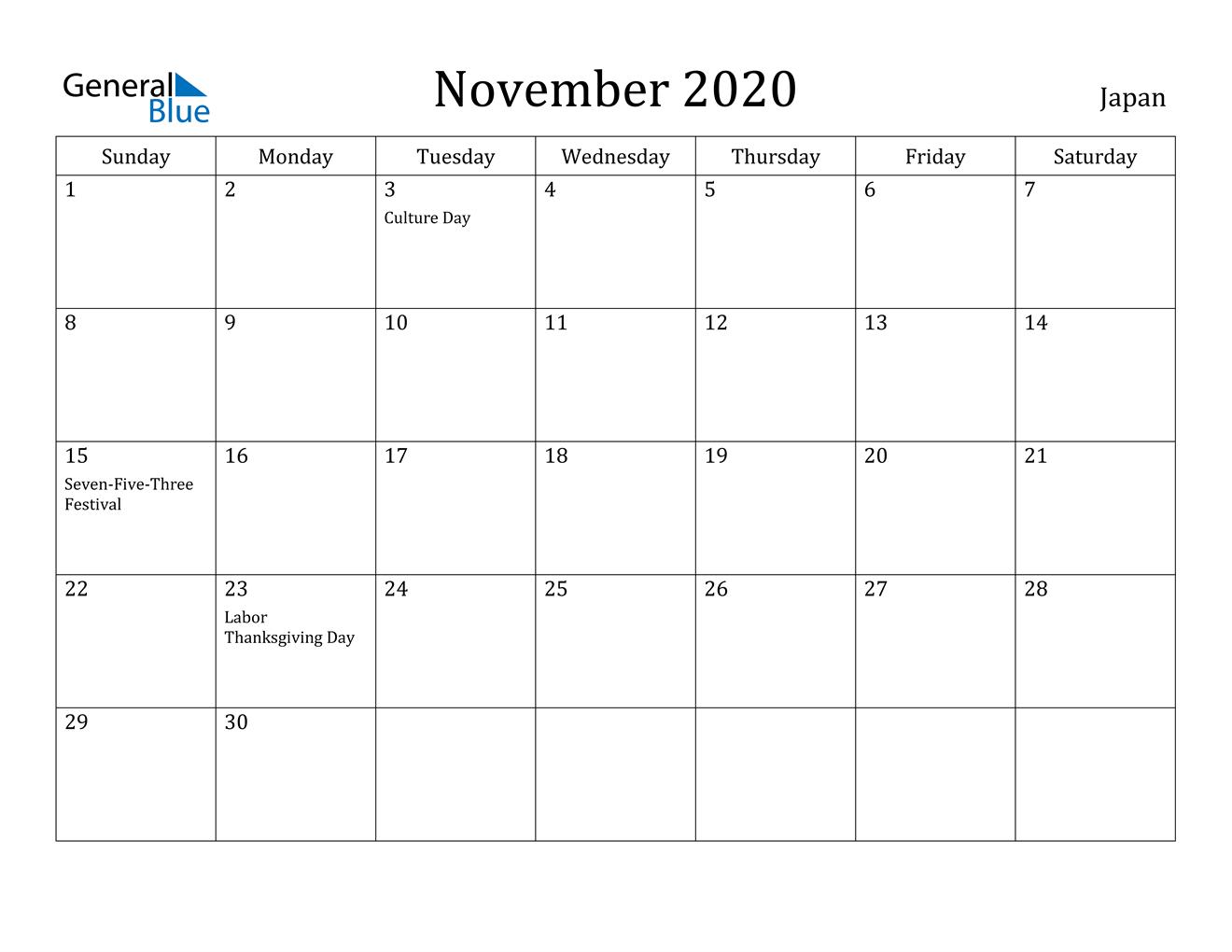 Collect 2020 Calendar With Holidays Printable Free Japan