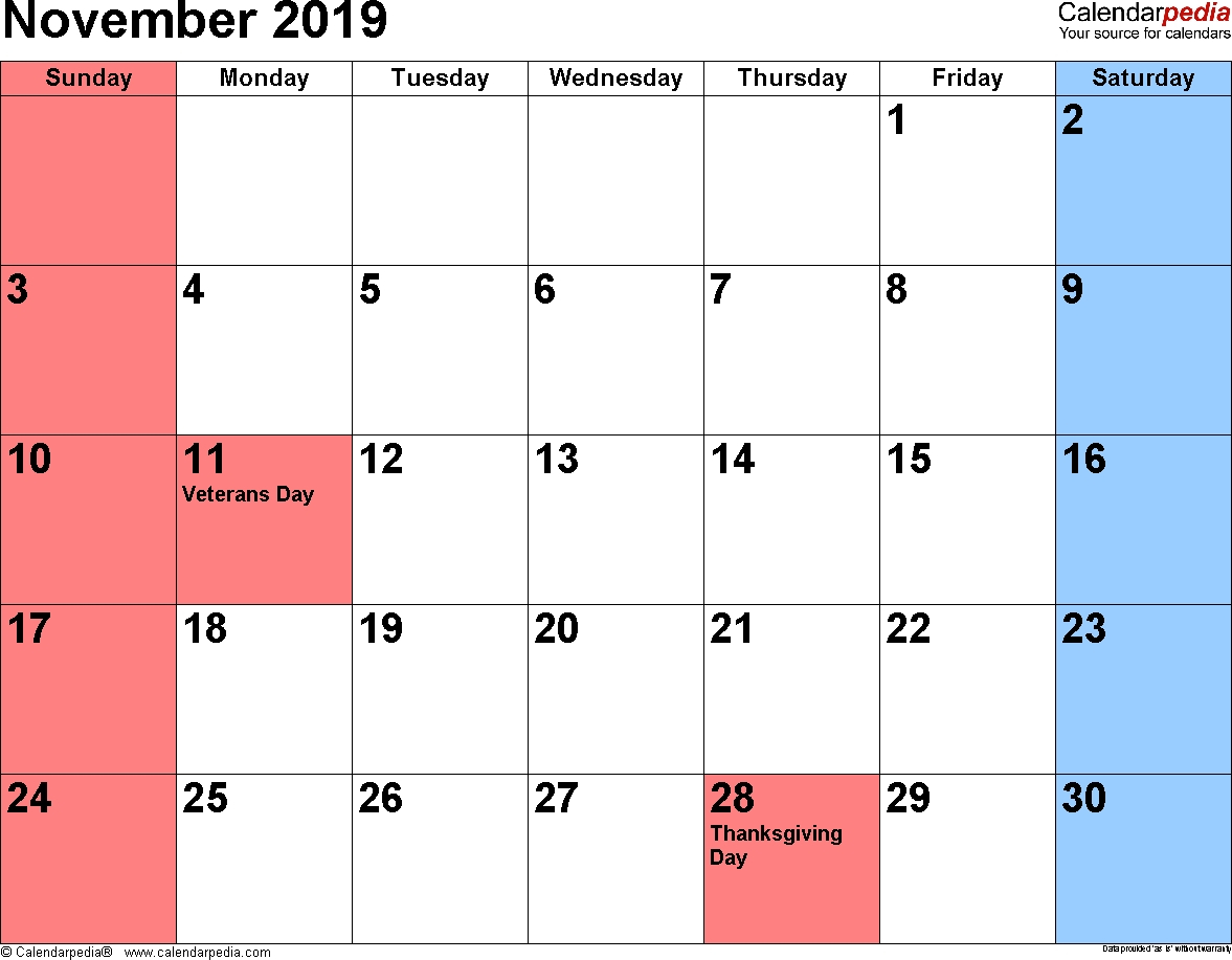 Collect Printable Calendar 2019 November Legal Size ⋆ The