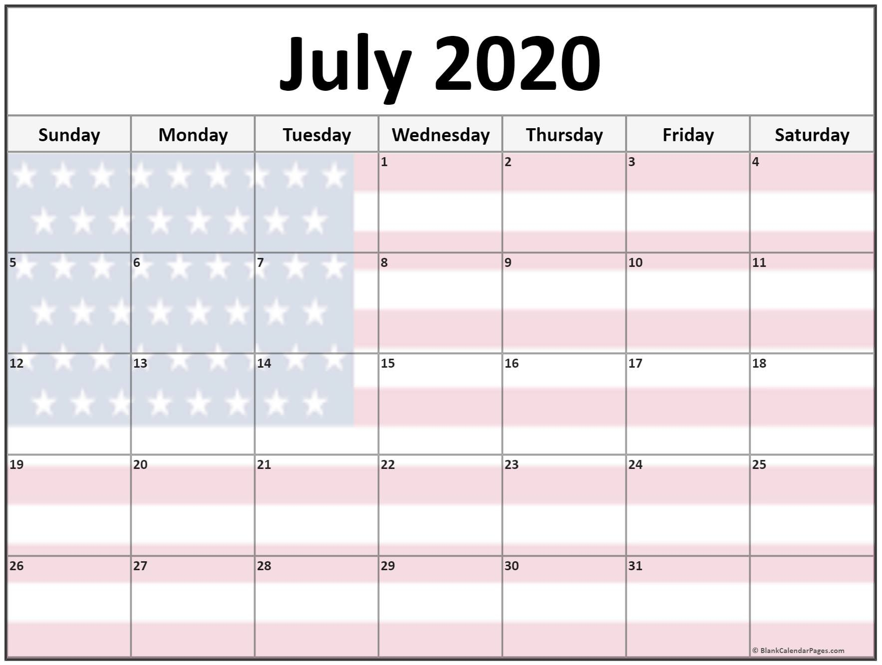 Collection Of July 2020 Photo Calendars With Image Filters.