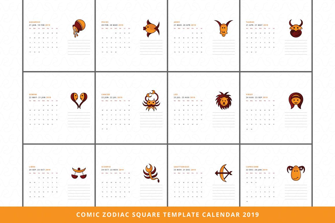 Comic Zodiac Calendar 2019 Vector Templates (185811