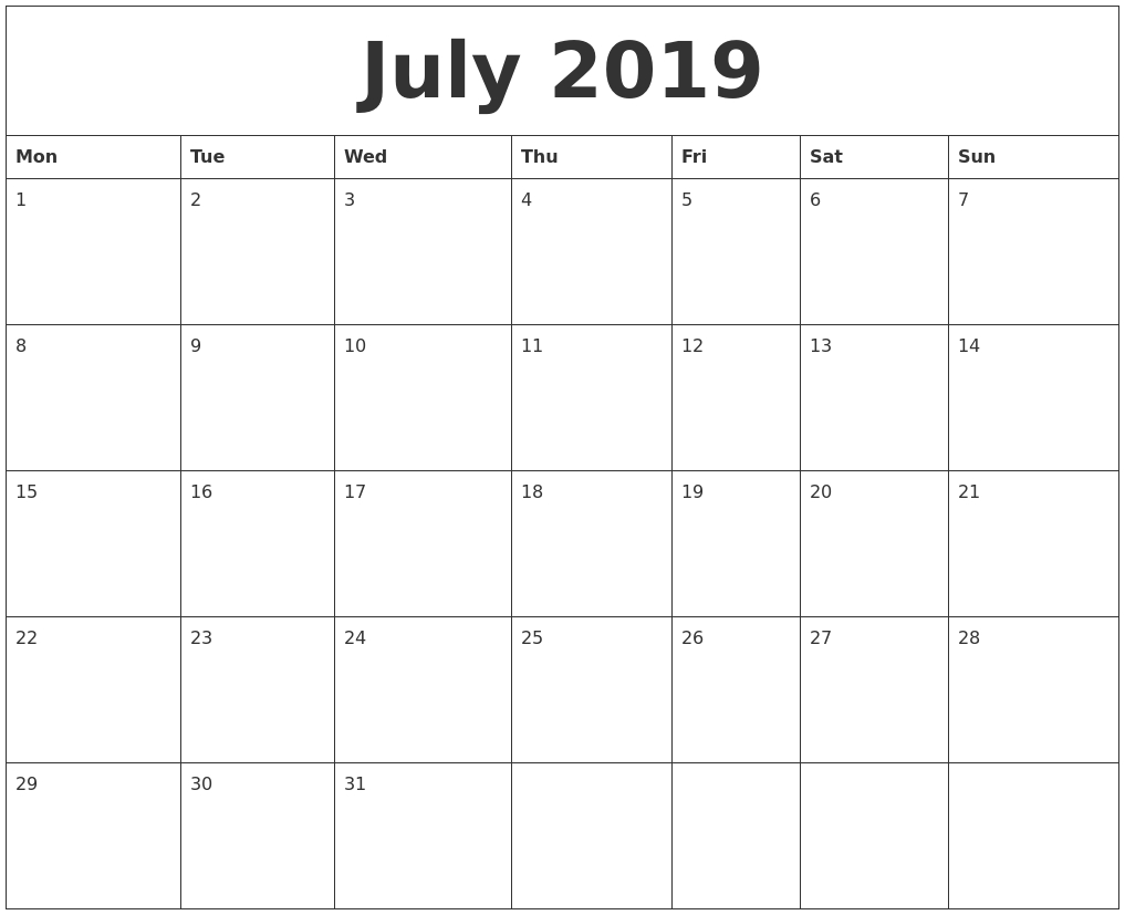Create A Printable Monthly Calendar   Printable Calendar 2020