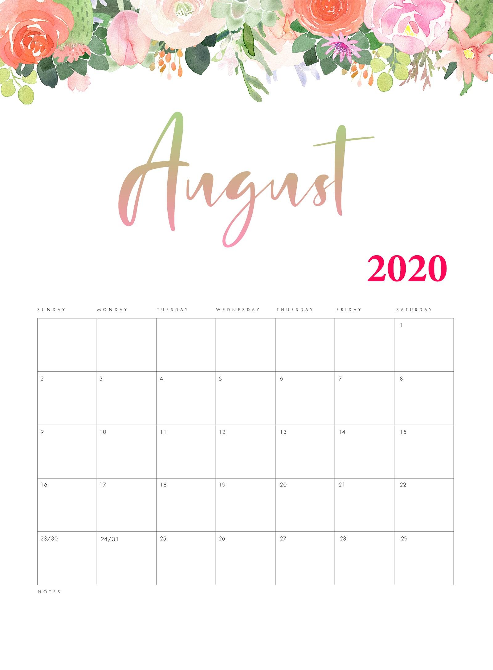 Cute August 2020 Calendar Designs   Calendar 2020
