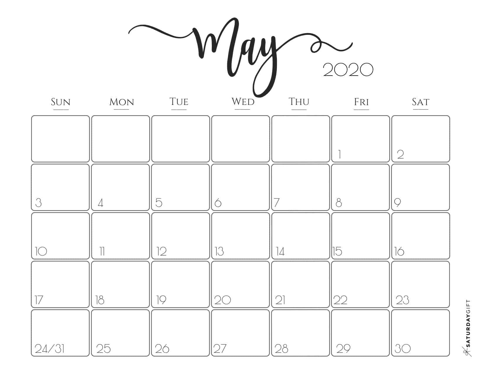 Cute (& Free!) Printable May 2020 Calendar In 2020 (With