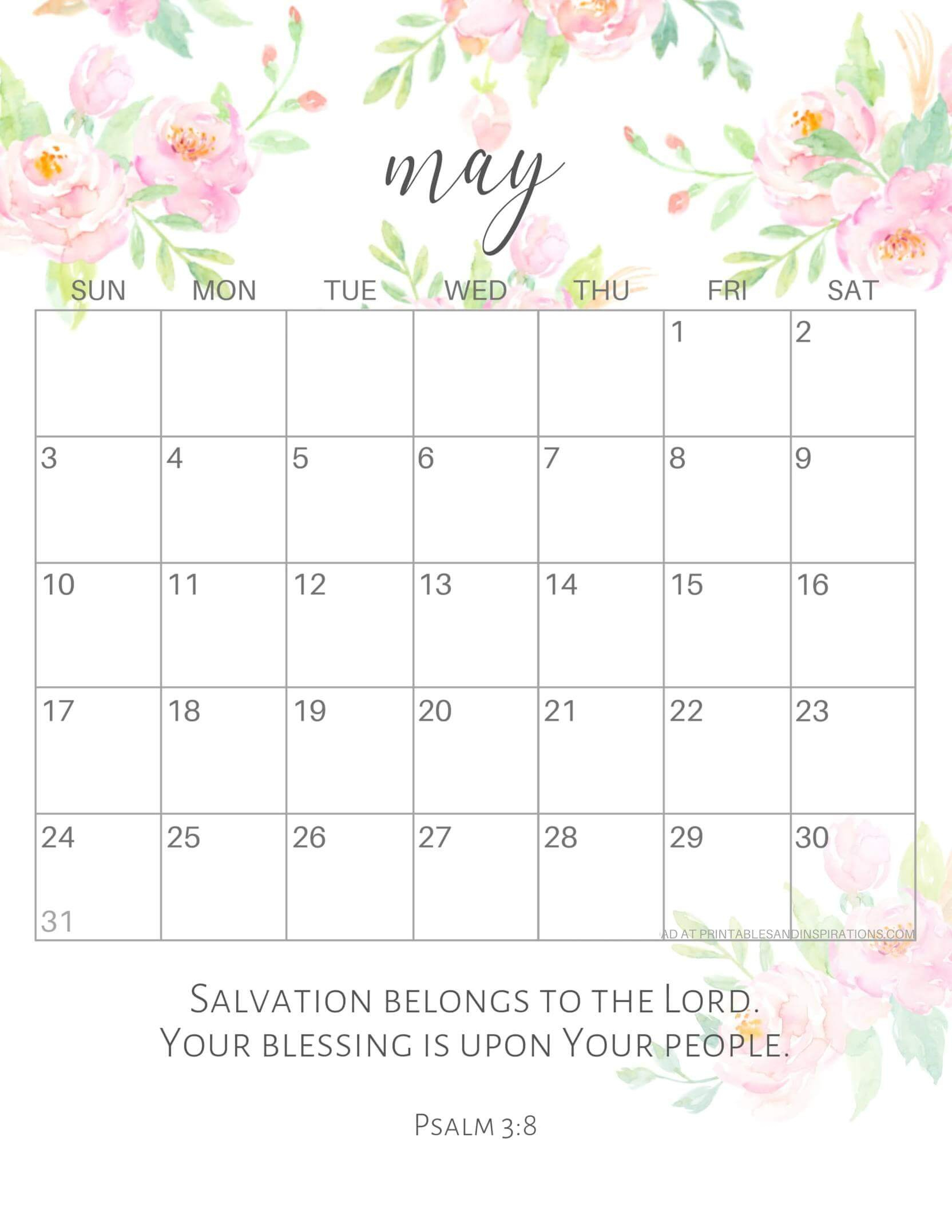 Cute May 2020 Calendar Design Template With Notes - One