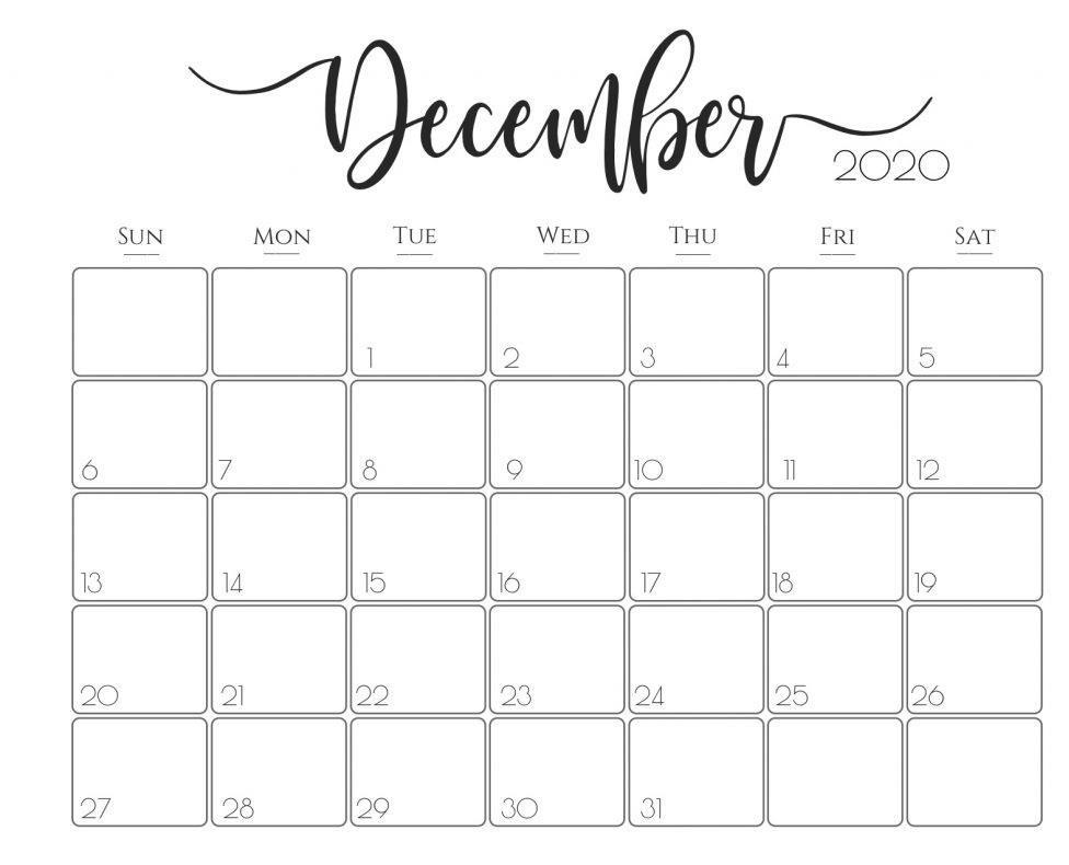 Daily Calendar December 2020 Free Printable Monthly Calendars.
