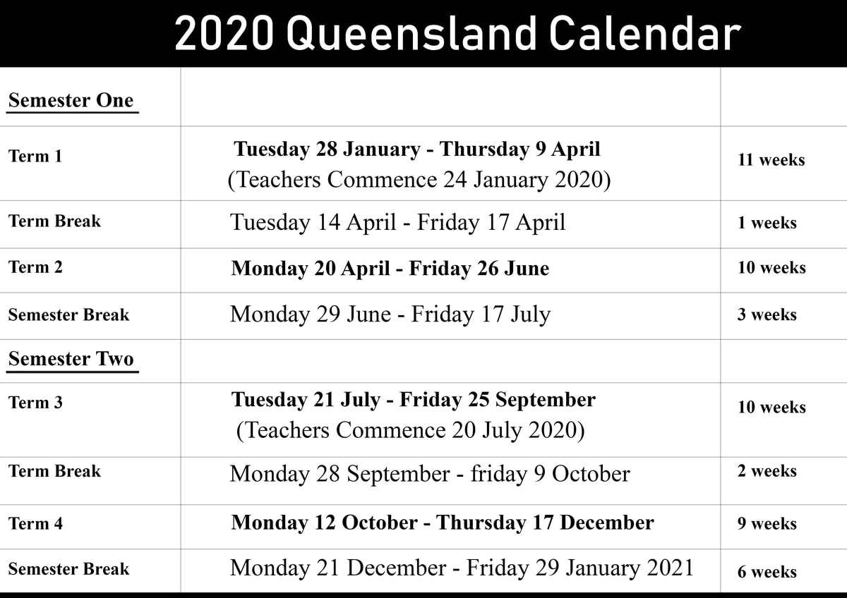 Dashing 2020 School Calendar Queensland State Schools