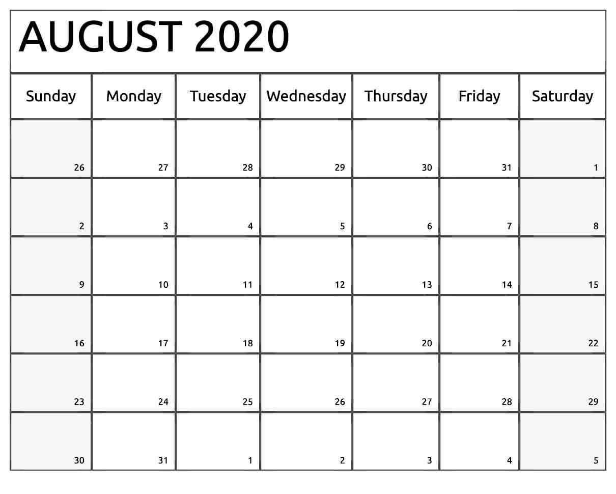 Days In August 2020 - Monthly Calendar Printable