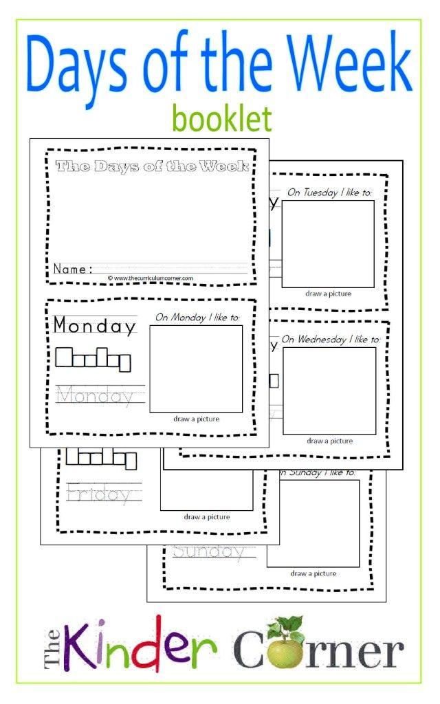 Days Of The Week Booklet | Teaching Calendar, Kindergarten