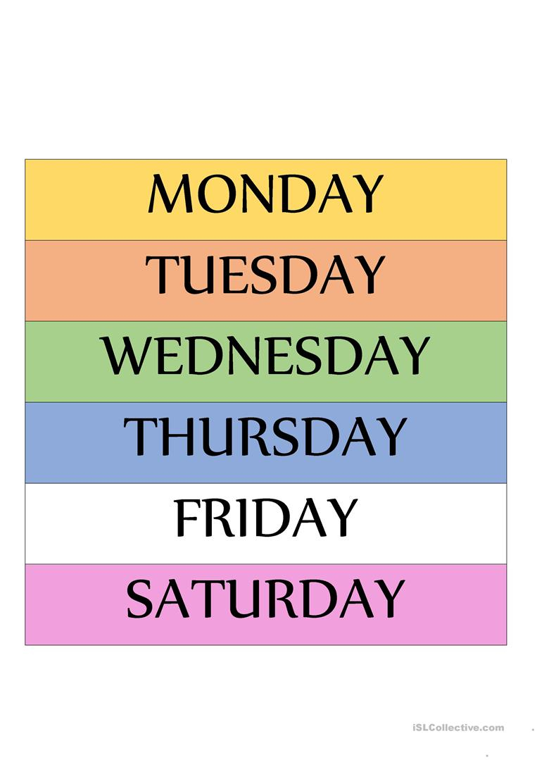 Days Of The Week Routine Worksheet - Free Esl Printable