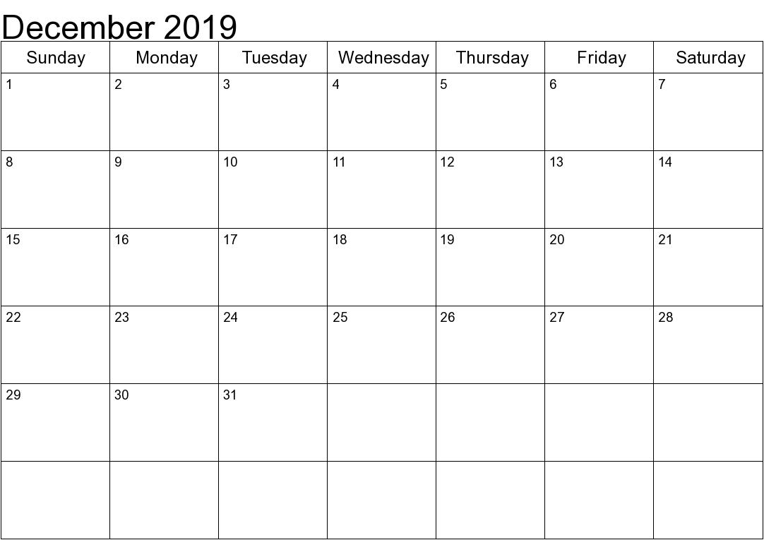 December 2019 Calendar Excel Printable Editable Free Download