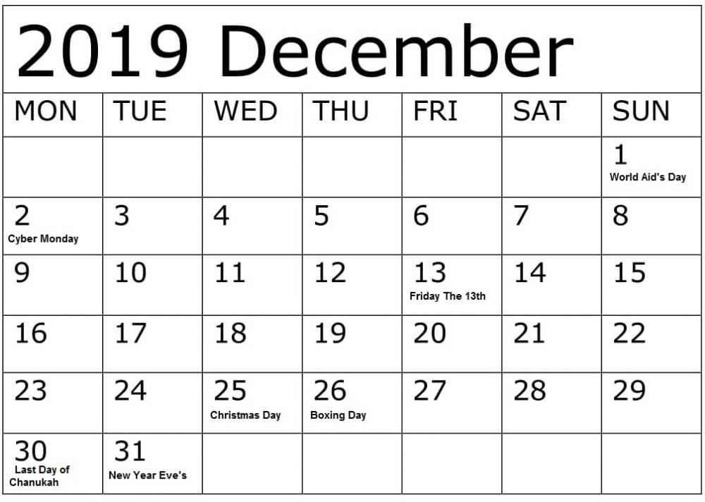 December 2019 Calendar With Federal Holidays Printable