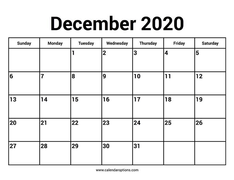 December 2020 Calendar – Calendar Options