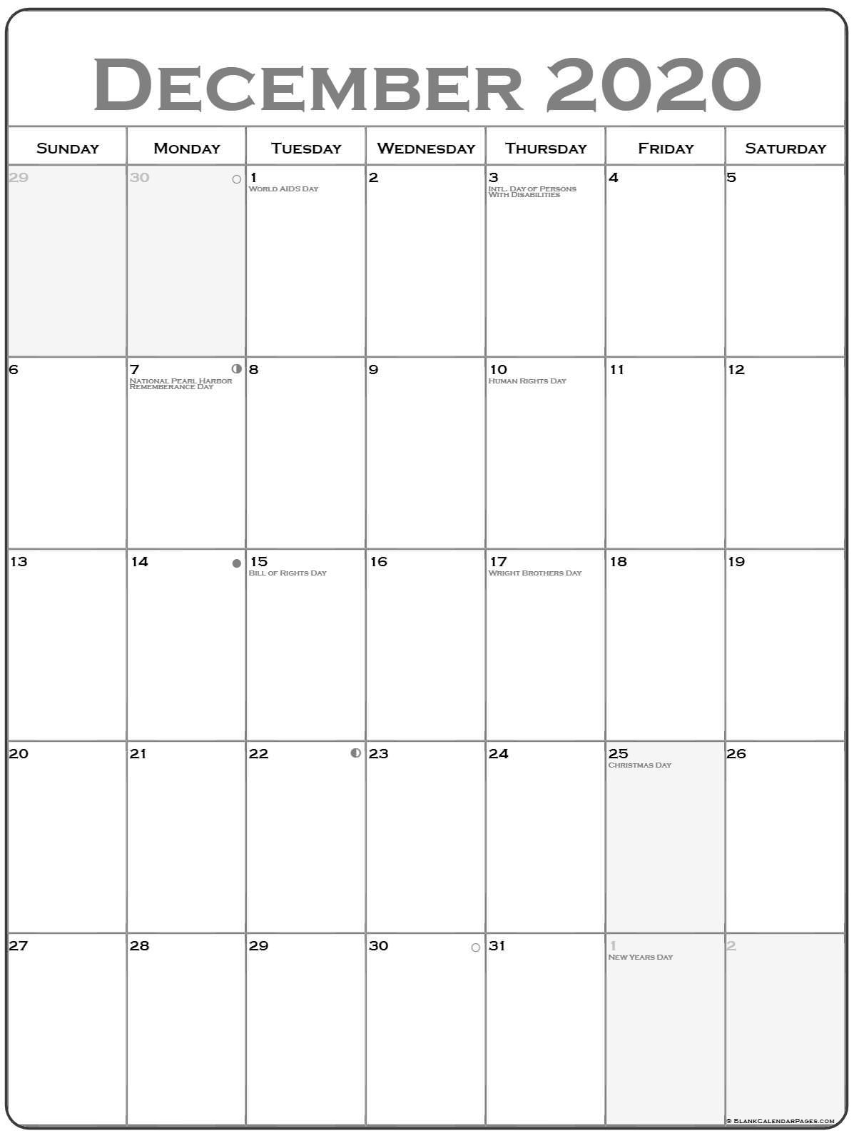 December 2020 Vertical Calendar | Portrait