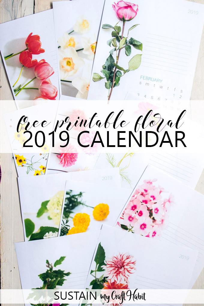 December'S Floral 2019 Free Printable Calendar Page Is