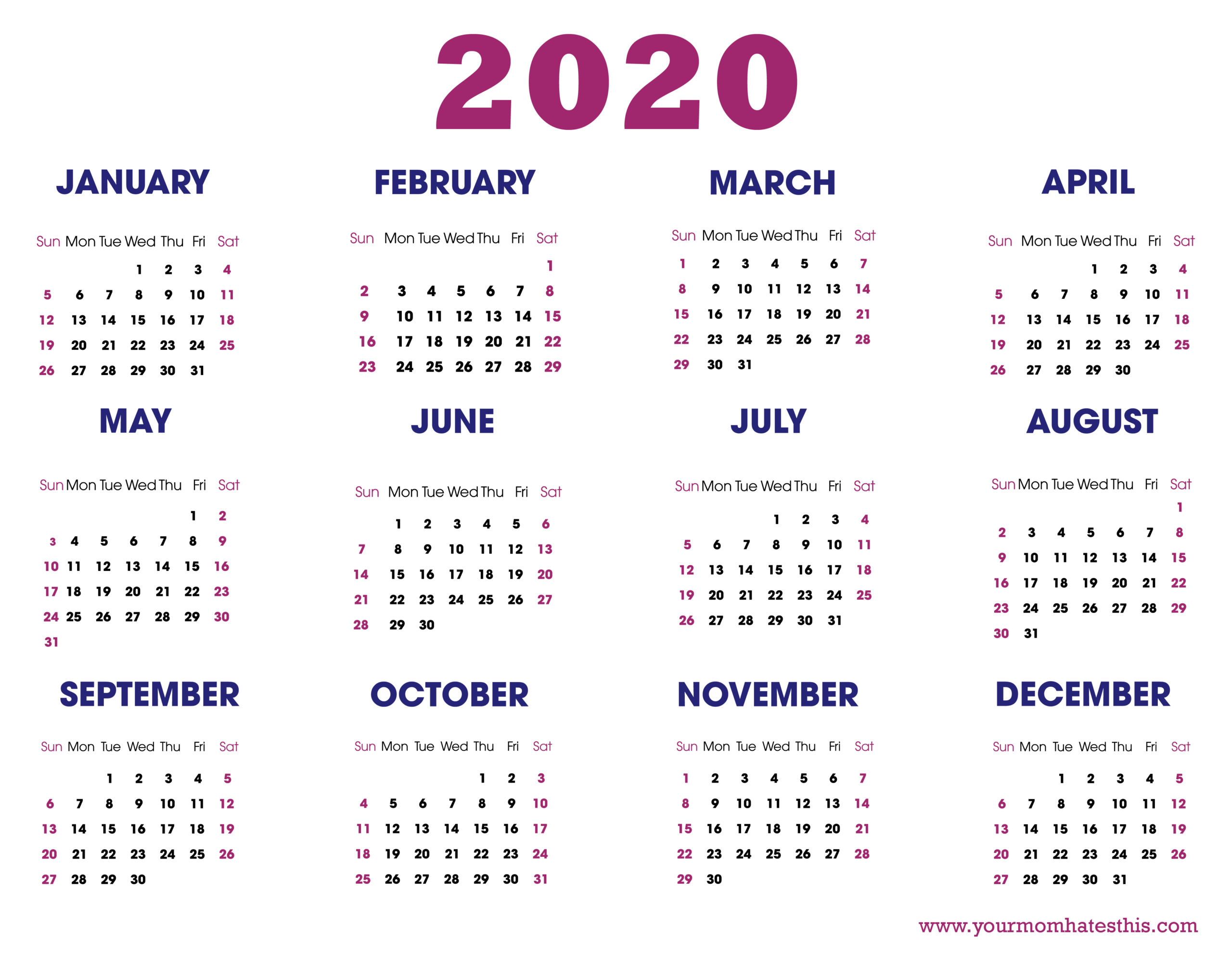 Download 2020 Calendar Templates Pdf