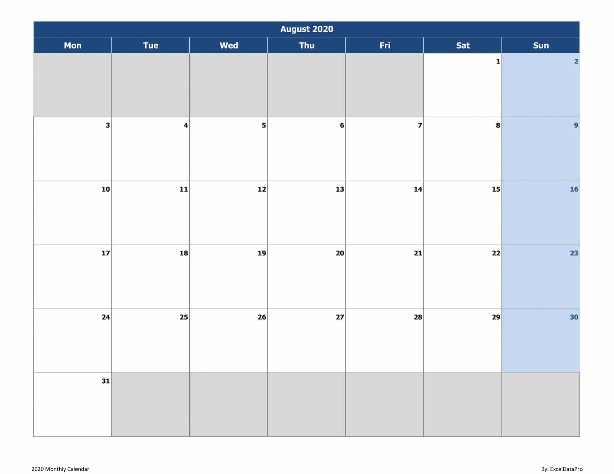 Download 2020 Monthly Calendar (Mon Start) Excel Template