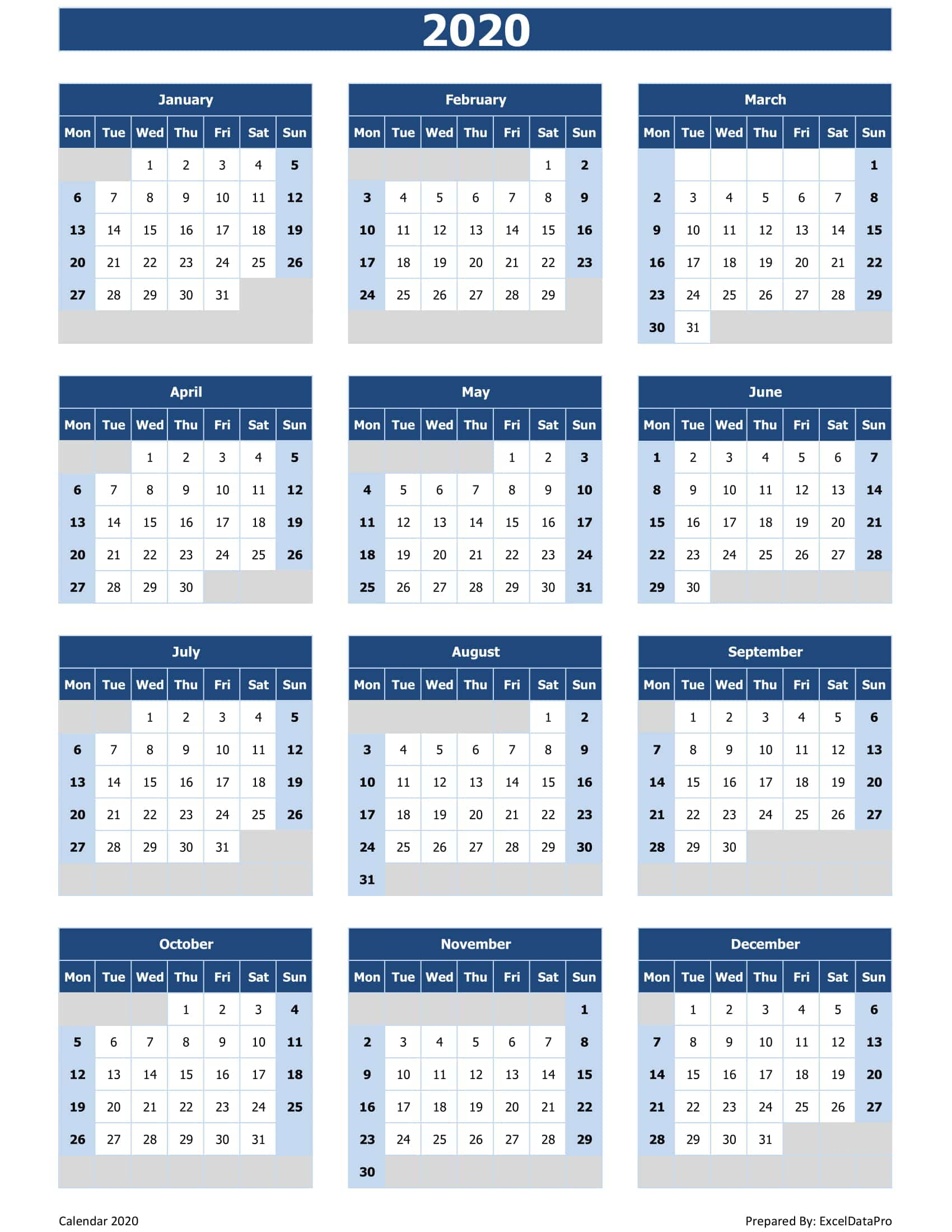 Download 2020 Yearly Calendar (Mon Start) Excel Template