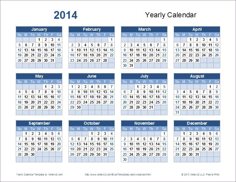 Download A Variety Of Free Yearly Calendar Templates That