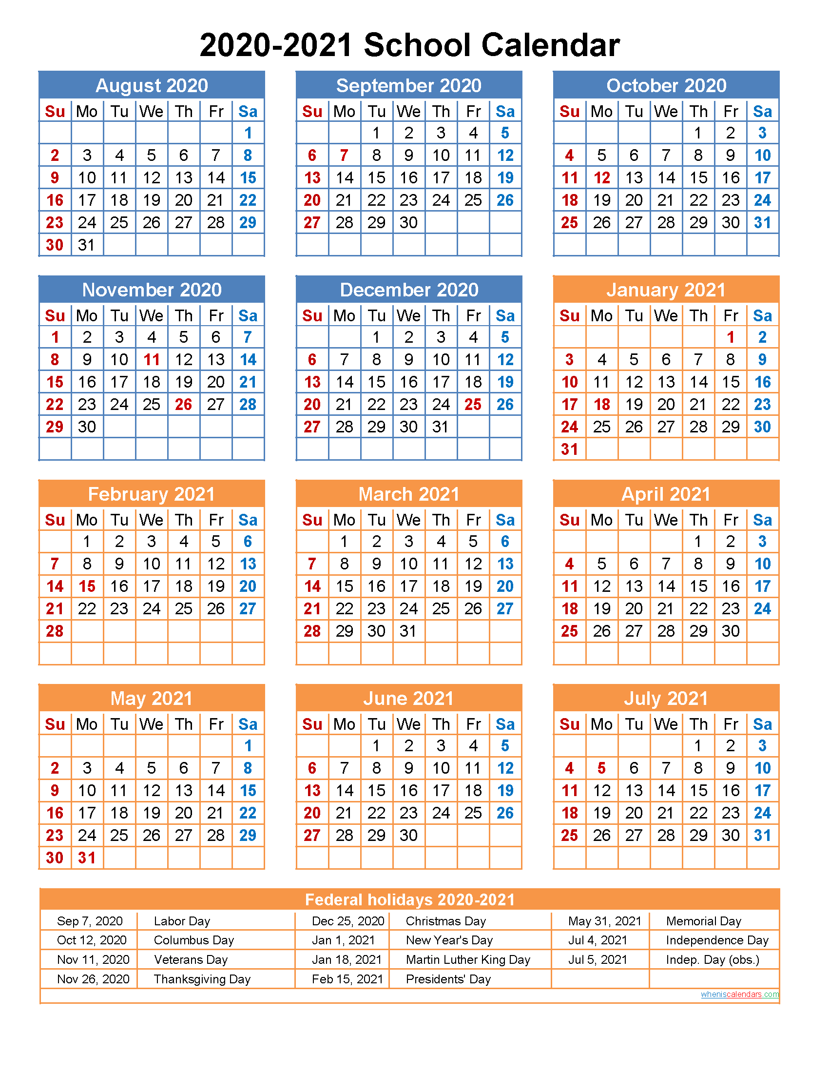 Download Academic Calendar 2020 20 Template | Excel Ebook