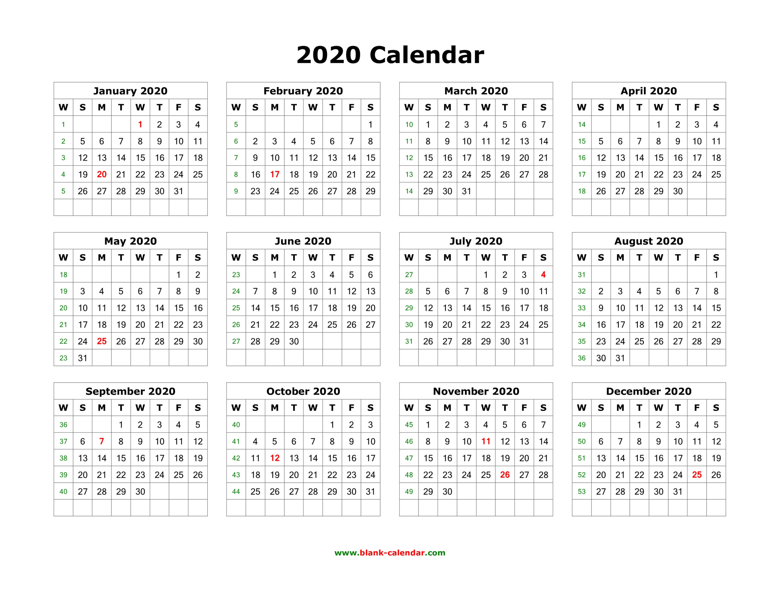Download Blank Calendar 2020 (12 Months On One Page