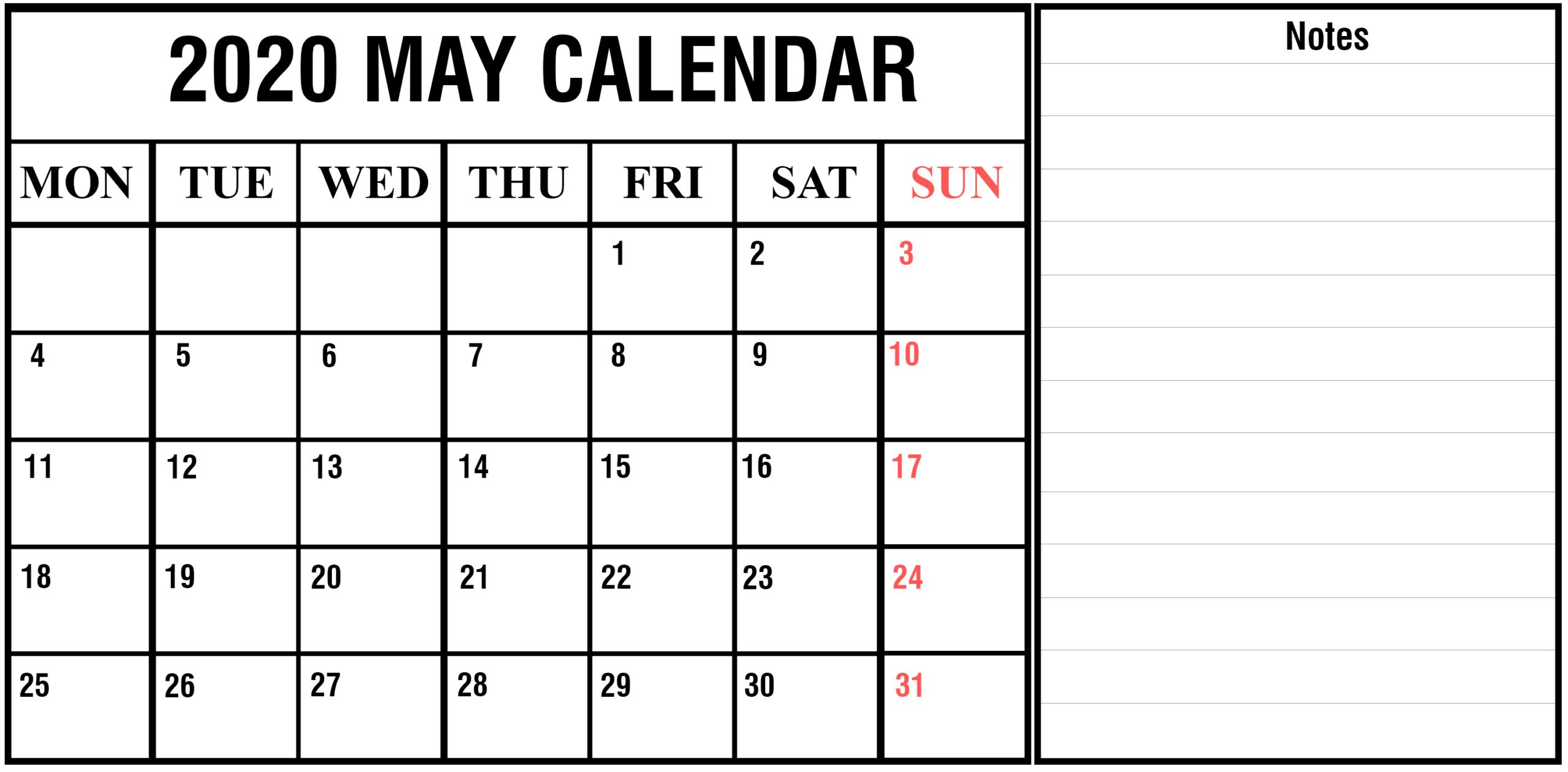Download Free Printable May 2020 Calendar [Pdf, Excel