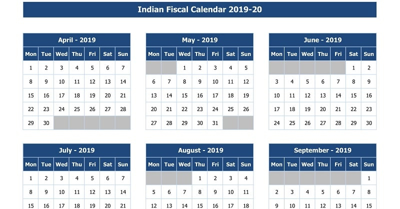 Download Indian Fiscal Calendar 2019-20 Excel Template