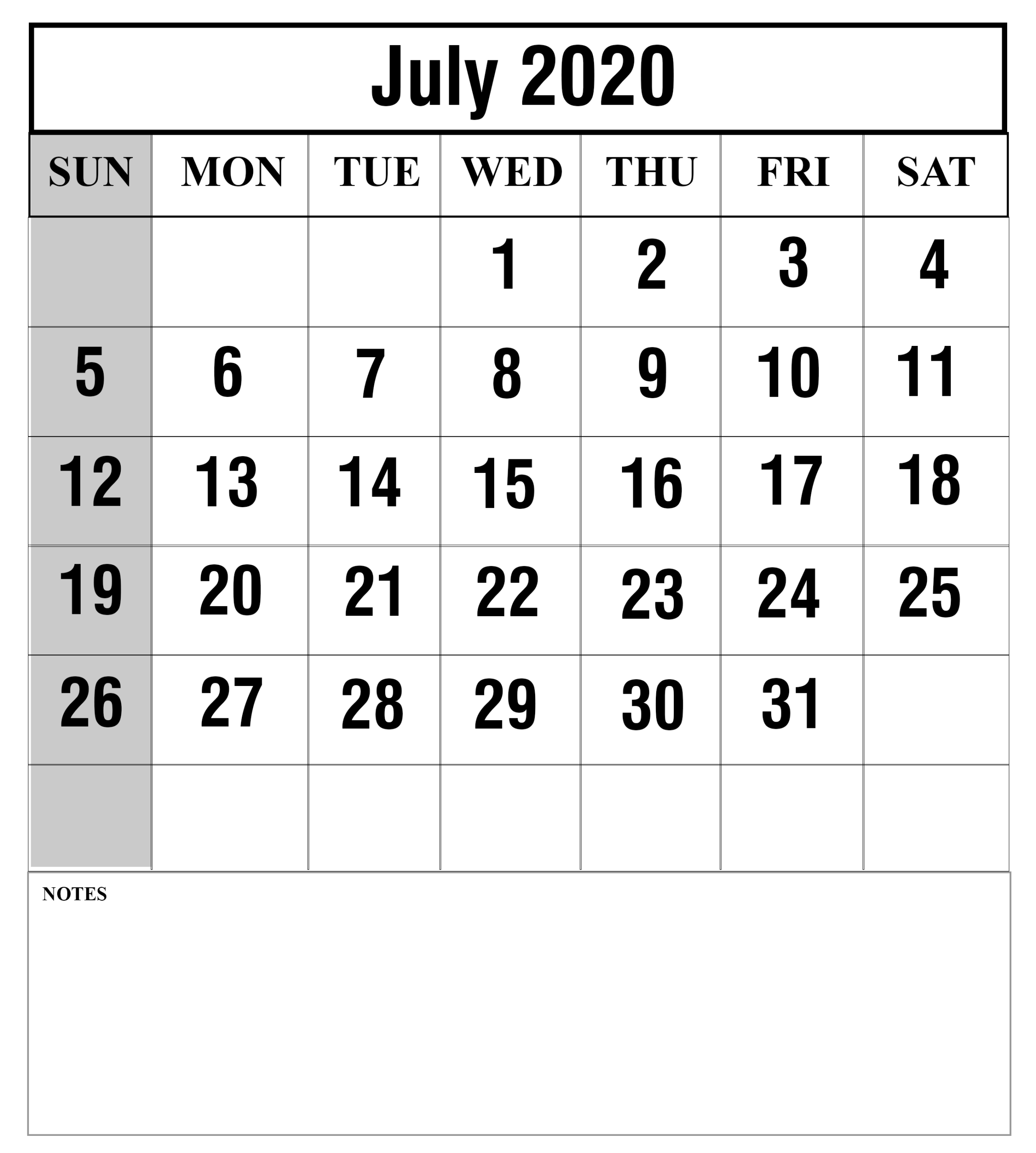 Download July 2020 Calendar Printable Templates {Pdf