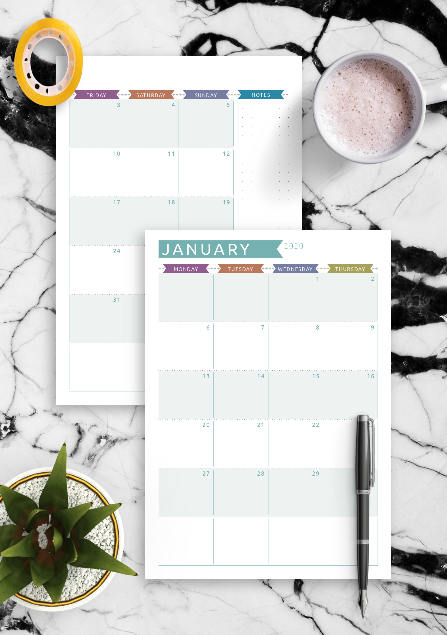 Download Printable Dated Monthly Calendar - Casual Style Pdf