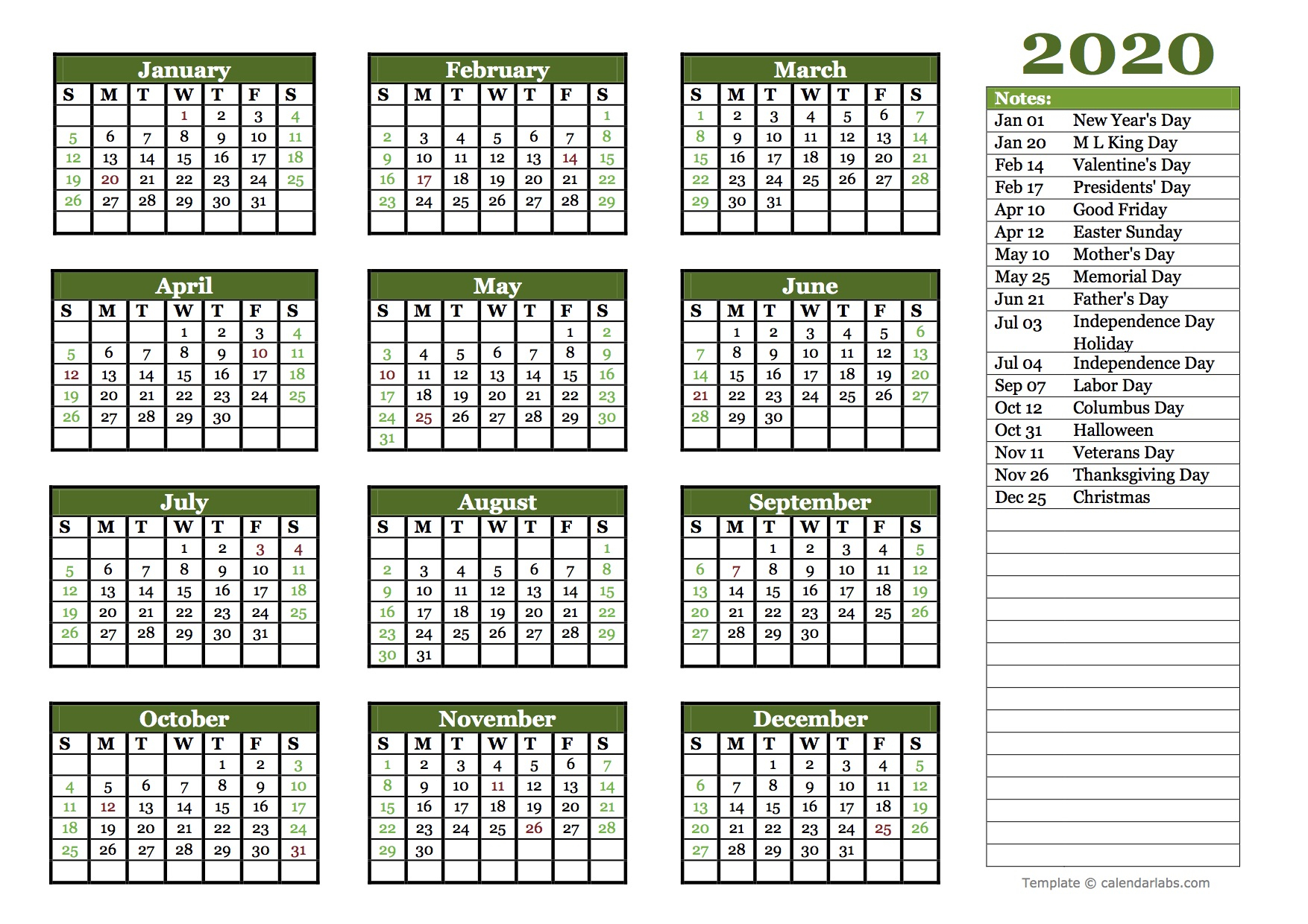 Editable 2020 Yearly Calendar Landscape - Free Printable