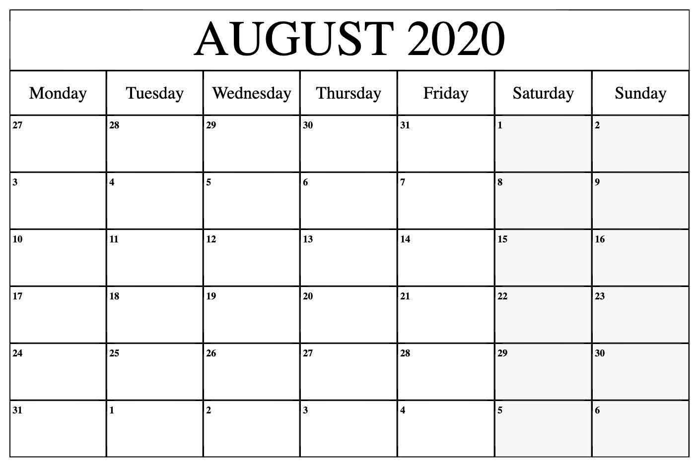 Editable August 2020 Calendar Excel Calendar.