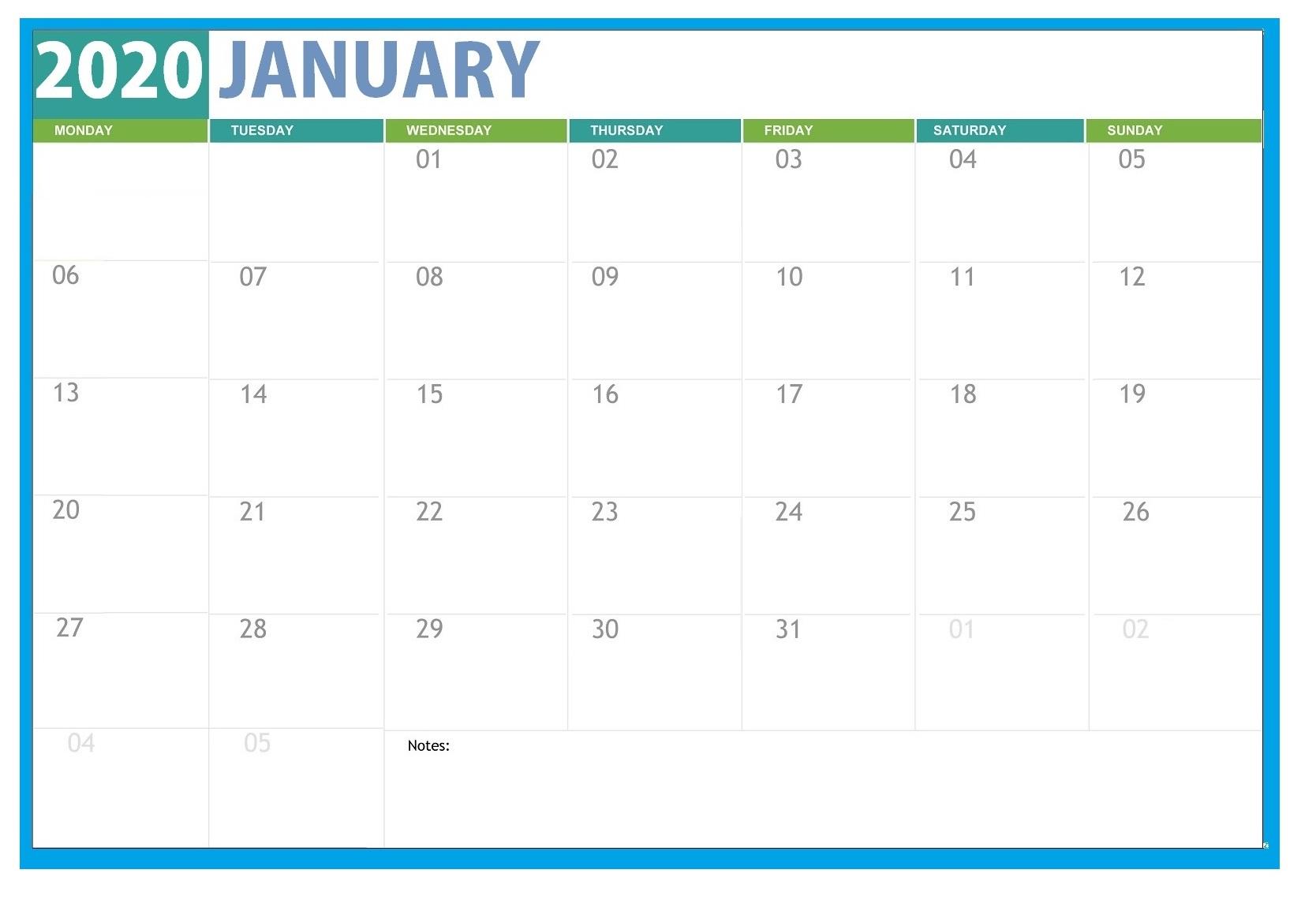 Editable January 2020 Calendar | Calendar 2020