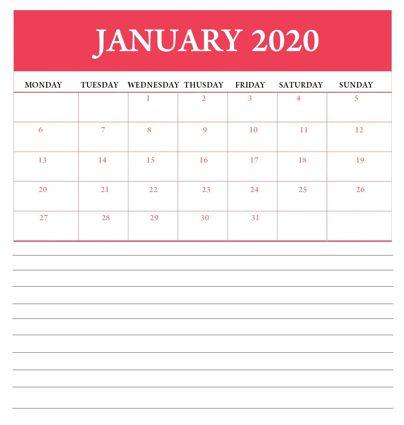 Editable January 2020 Calendar | Latest Calendar