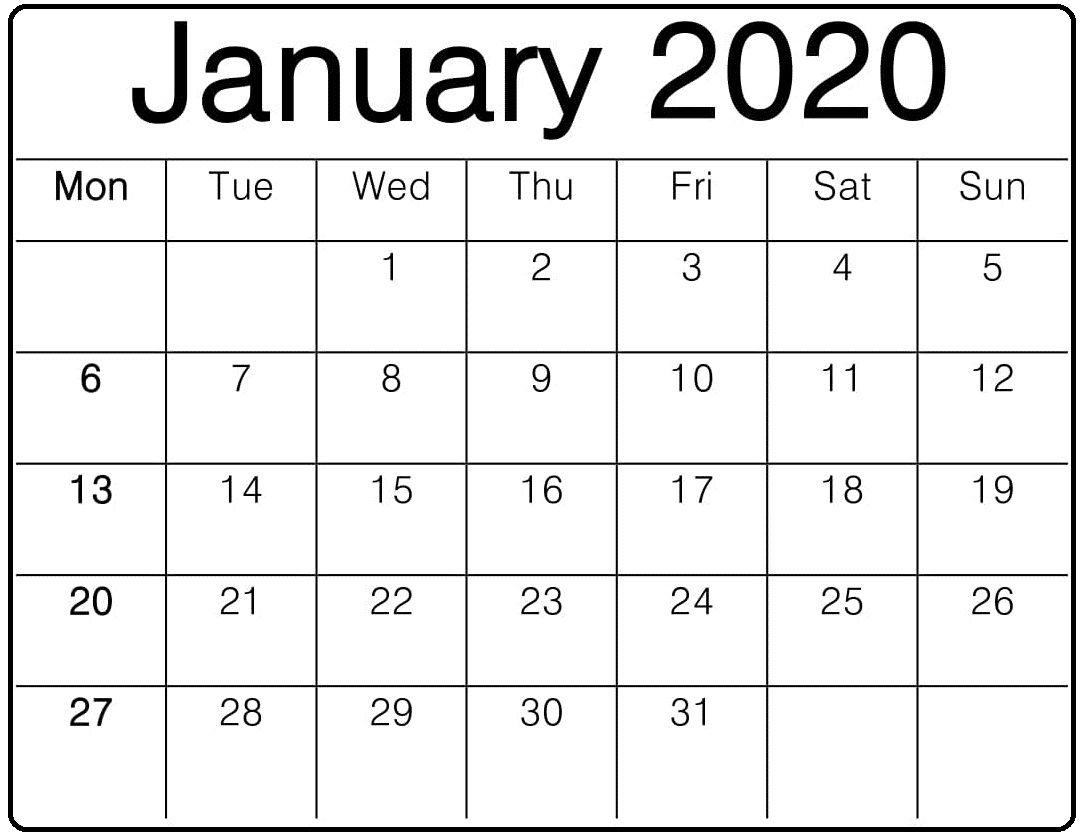 Editable January 2020 Calendar Word Template In Portrait